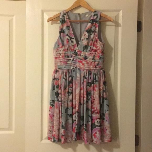 BB Dakota Dresses & Skirts - Floral grey green and pink dress